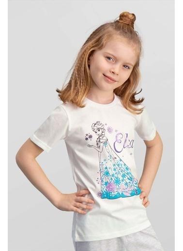 Frozen Karlar Ülkesi Elsa - Frozen Lisanslı Açık Gri Kız Çocuk T-Shirt Krem